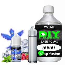 Pack e-liquide DIY Facile Blue Bird arôme concentré - Base PG/VG 250ML + Flacon vide 50 ml