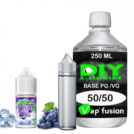 Pack e-liquide DIY Facile Grap Juice arôme concentré - Base PG/VG 250ML + Flacon vide 50 ml